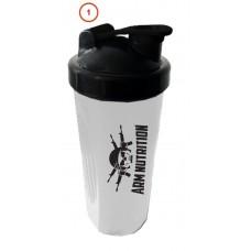 Шейкер 600 мл. ARM NUTRITION прозрачный стакан, черная крышка с венчиком