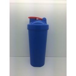Шейкер 600 мл., синий стакан, синяя крышка, красная защелка с металлическим шариком