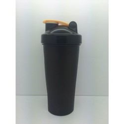 119 Шейкер 600мл черный стакан-черная крышка-бежевая защелка с металлическим шариком