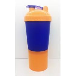 115 Шейкер 600мл синий стакан-оранжевая крышка-синяя защелка-оранжевый отсек для порошка