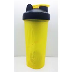 108 Шейкер 600мл жёлтый прозрачный стакан-чёрная крышка-жёлтая защелка с металлическим шариком