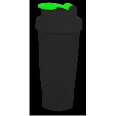 Шейкер 600 мл., черный непрозрачный стакан, черная крышка, ярко-зеленая защелка с металлическим шариком