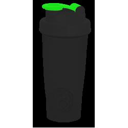 117 Шейкер 600мл черный непрозрачный стакан-черная крышка-ярко-зеленая защелка с металлическим шариком