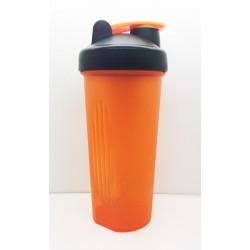 109 Шейкер 600мл оранжевый прозрачный стакан-чёрная крышка-оранжевая защелка с металлическим шариком