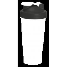 Шейкер 600 мл., белый непрозрачный стакан, черная крышка, белая защелка с сеткой
