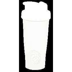 Шейкер 600 мл., белый полупрозрачный стакан, белая крышка, белая защелка с металлическим шариком