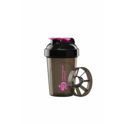 Шейкер 500 мл. «Фианит мини», черный шейкер, черная крышка, фиолетовая защелка с сеткой