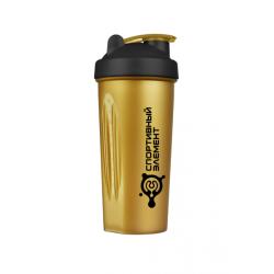 155 Шейкер 600 мл. «Черное золото», непрозрачный золотой стакан, черная крышка, золотая защелка, черный логотип с металлическим шариком