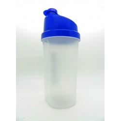 126 Шейкер 700мл прозрачный стакан-синяя крышка-синяя защёлка с сеткой