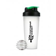 Шейкер 600 мл. «Хрусталь зеленый», прозрачный стакан, зеленая защелка, черный логотип с металлическим шариком